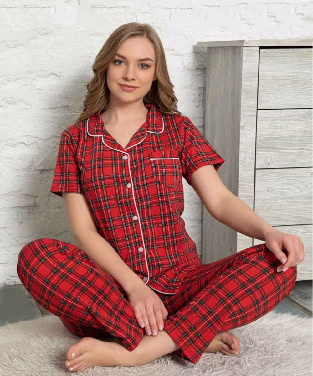 Pajama Set Womens Short Sleeve Front Buttoned Pajamas  Free Shipping New High Quality Summer