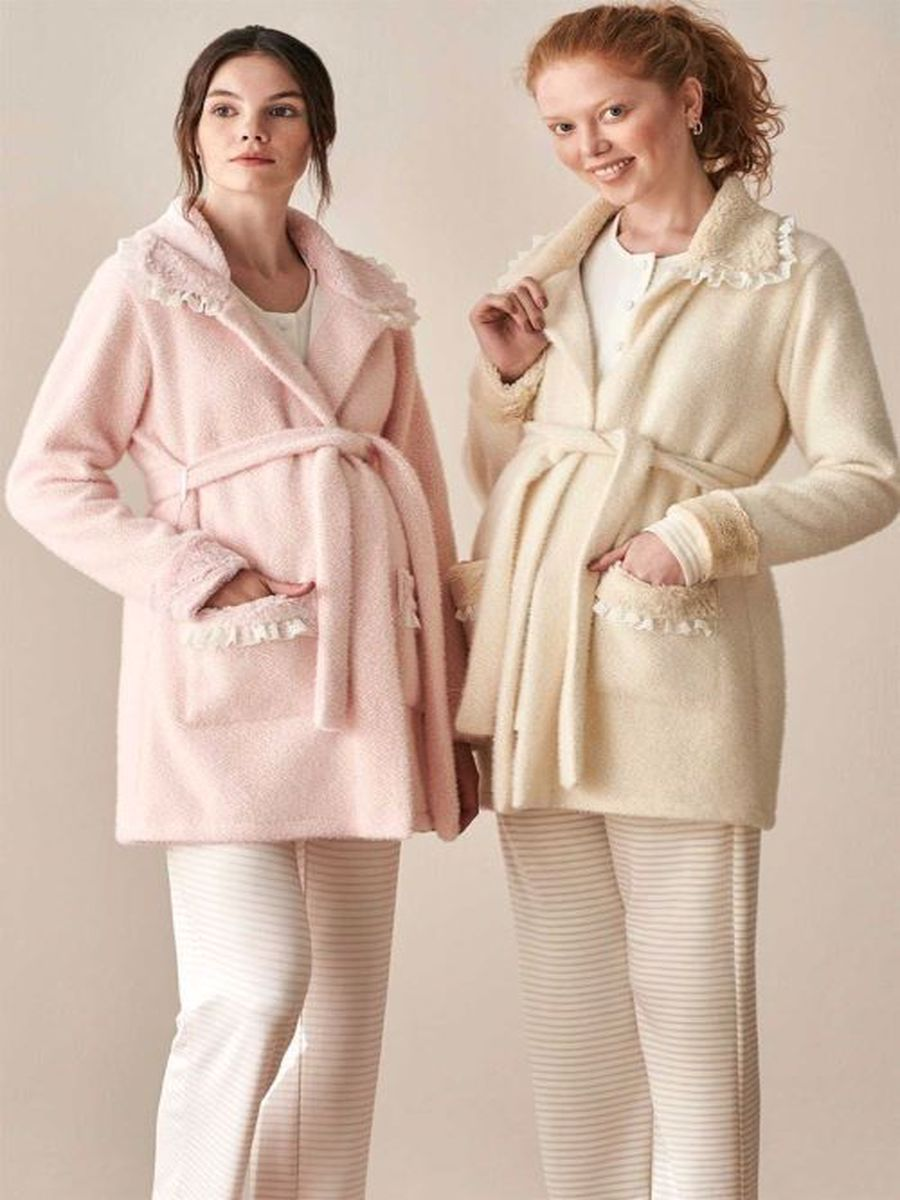 Fleece Dressing Gown Maternity Pajamas Free Shipping From Turkey enlarge