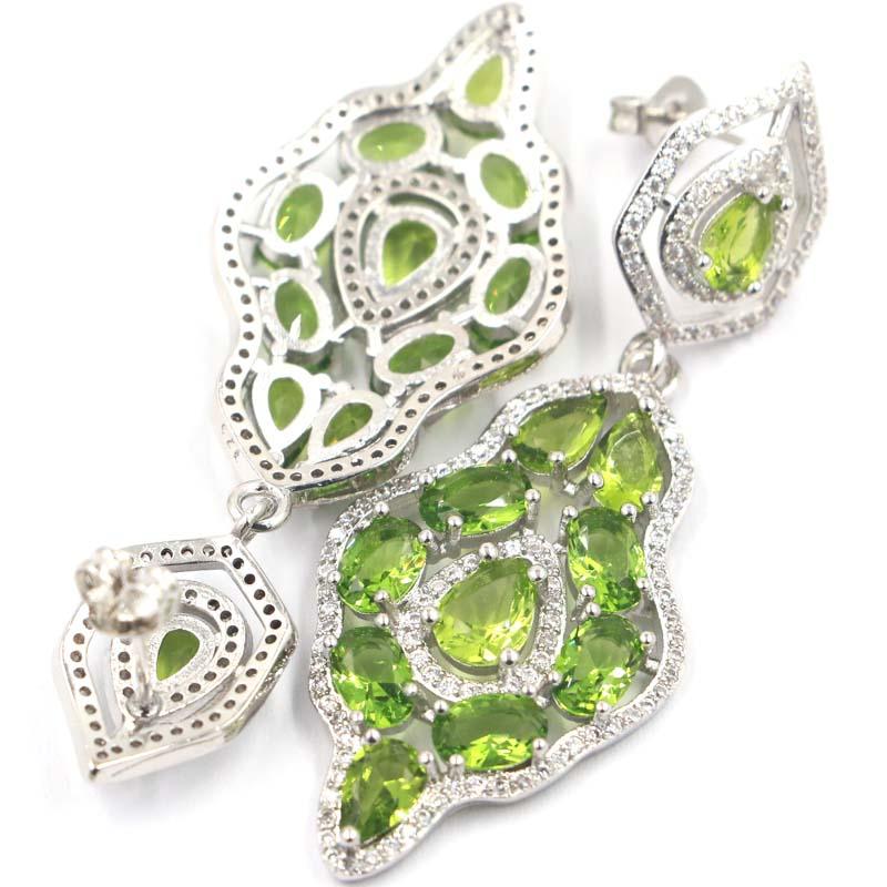 54x20mm Stunning Long Big Heavy 10g Created Green Peridot White CZ Ladies Wedding Silver Earrings