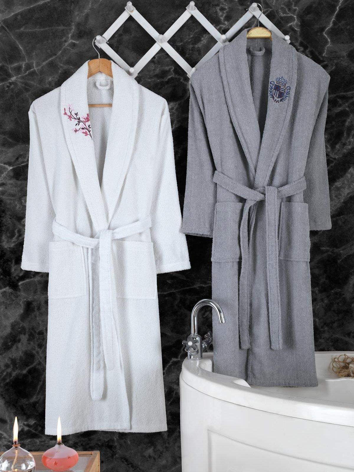 2021 New Bathrobe Set 2 PCs Double Bathrobe Bathroom Pajamas Home Garment Bathroom Accessories Slim And Absorbent 100% Cotton
