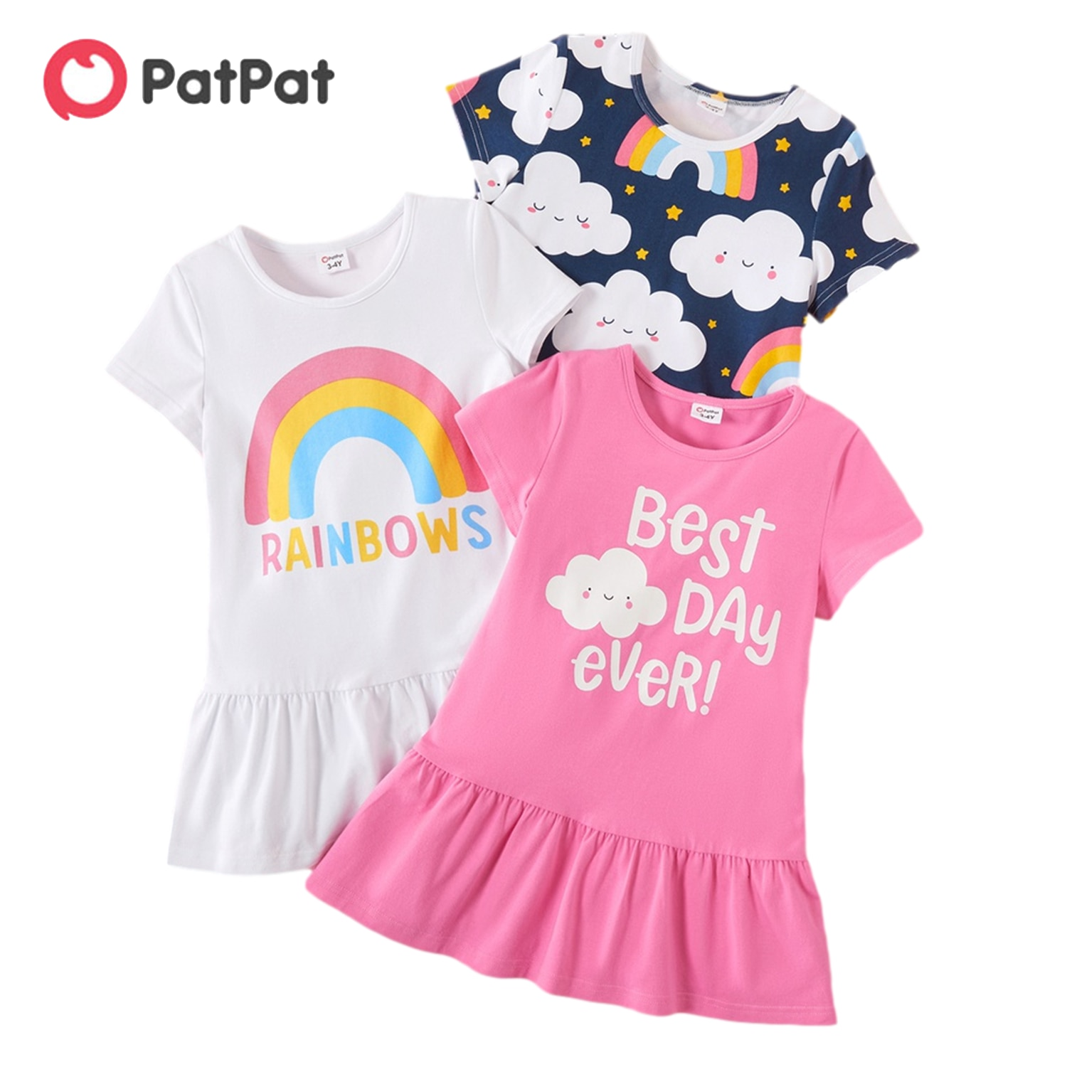 aliexpress - PatPat 2021 Spring and Autumn 3-pack Toddler Girl Dots and Solid Long-sleeve Dress Set Cute Children's Clothing