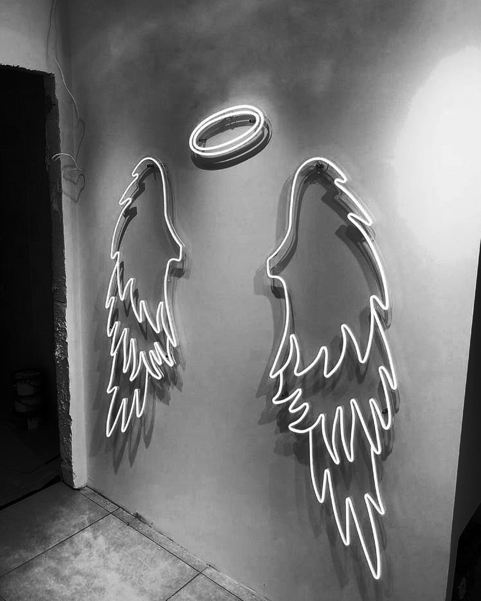 Аngel Wings and Halo Neon Sign Custom Neon Sign Light Wedding Decor Party Decor Wall Decor Photo Zone Store Decor Wings Sign
