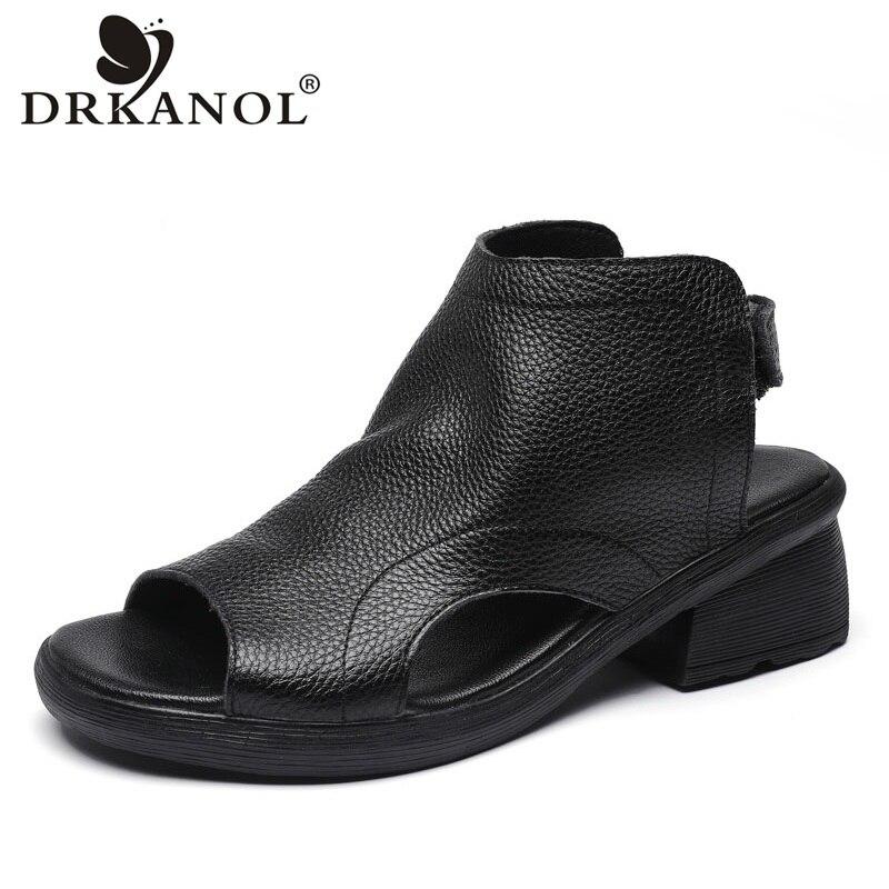 DRKANOL-صندل نسائي من الجلد الطبيعي بكعب سميك ، حذاء كاجوال مفتوح من الأمام ، 2021
