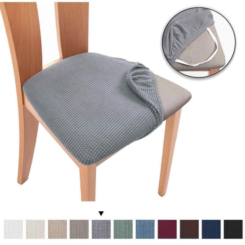 Spandex Jacquard Dining Room Chair Seat Covers,Removable Washable Elastic Cushion Covers for Upholstered Dining Chair