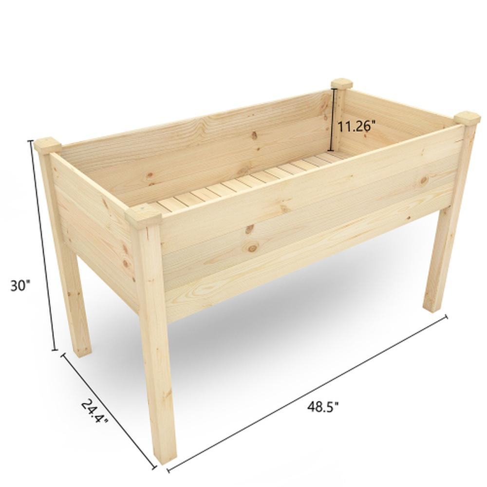 Raised Garden Bed 48.5x24.4x30in Solid Wood Planter Box Stand for Backyard Load: 220.5 Lb