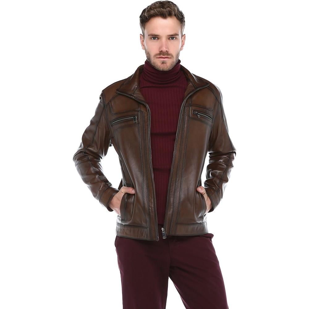 الرجال المعاطف الجلدية حقيقية سترة جلدية 1st الصف جلد الغنم معطف جلد طبيعي Vintage الرجال سترة الشتاء الرسمية غير رسمية لذلك
