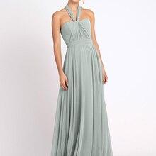 Bridesmaid Dresses Gray Green Chiffon Sleeveless Asymmetrically A-Line Floor-Length Wedding Party Dr