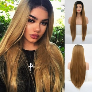 RONGDUOYI Heat Resistant Daily Wear Hair Blonde Wigs Synthetic Lace Front Wig Long Silky Straight Hair Natural Wigs for Women
