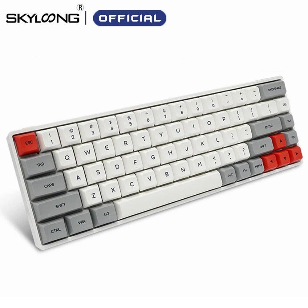 SKYLOONG SK68 PCB لوحة المفاتيح الميكانيكية سماعة لاسلكية تعمل بالبلوتوث الألعاب لوحة المفاتيح الساخن قابلة للتبديل ABS كاي كابس انفصال كابل ل Win Mac