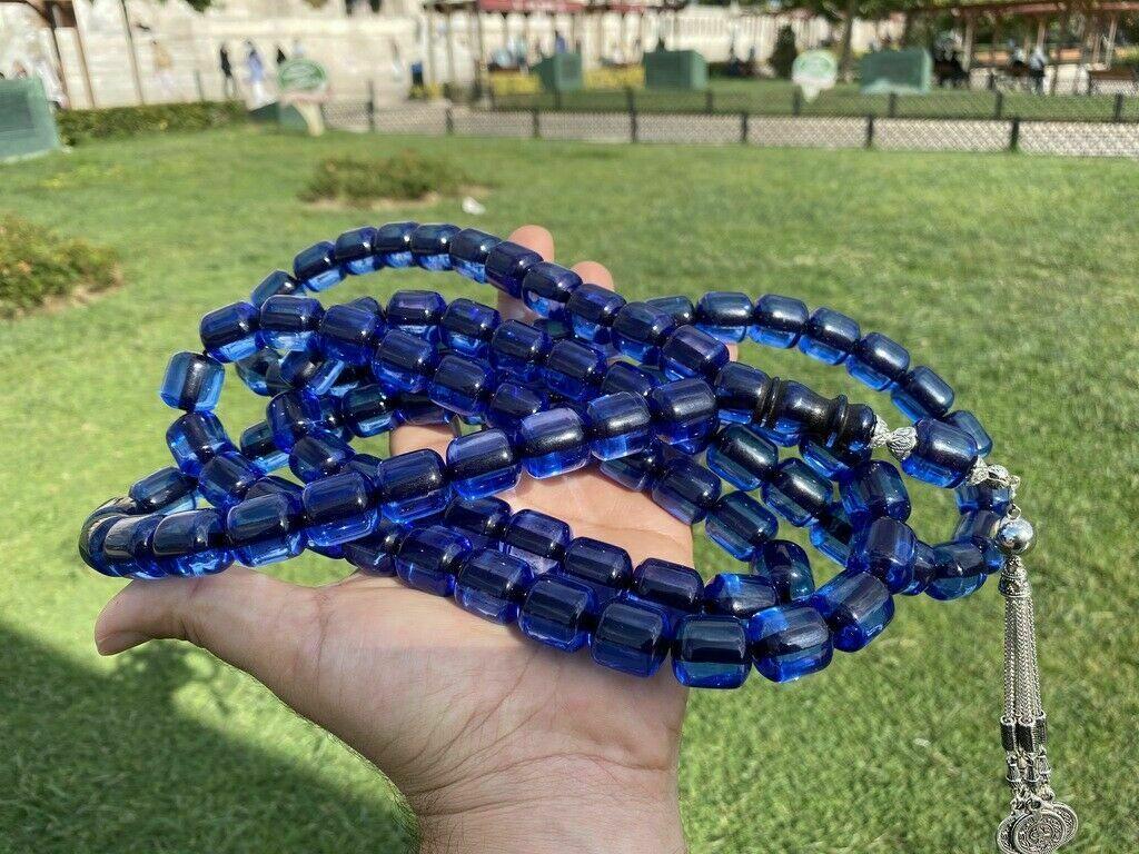 99 İslam Ottoman Kahraman Faturan German Blue Amber Sandalous Misbaha Rosary Free Shipping Tasbih Tesbih İslamic Arabic Gift