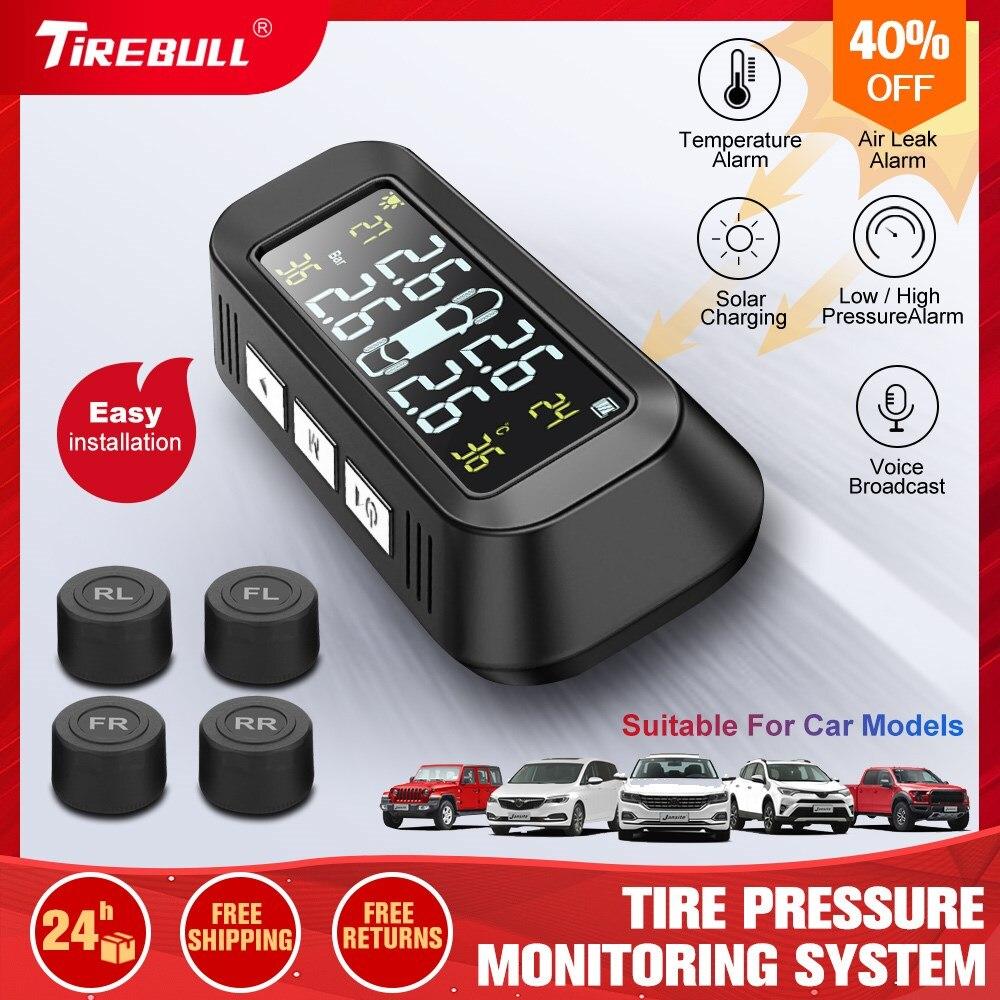 Wireless TPMS Solar Real-Time Car Tire Pressure Temperature Safety Monitoring System USB LCD 8Bar 4pcs Internal External Sensors