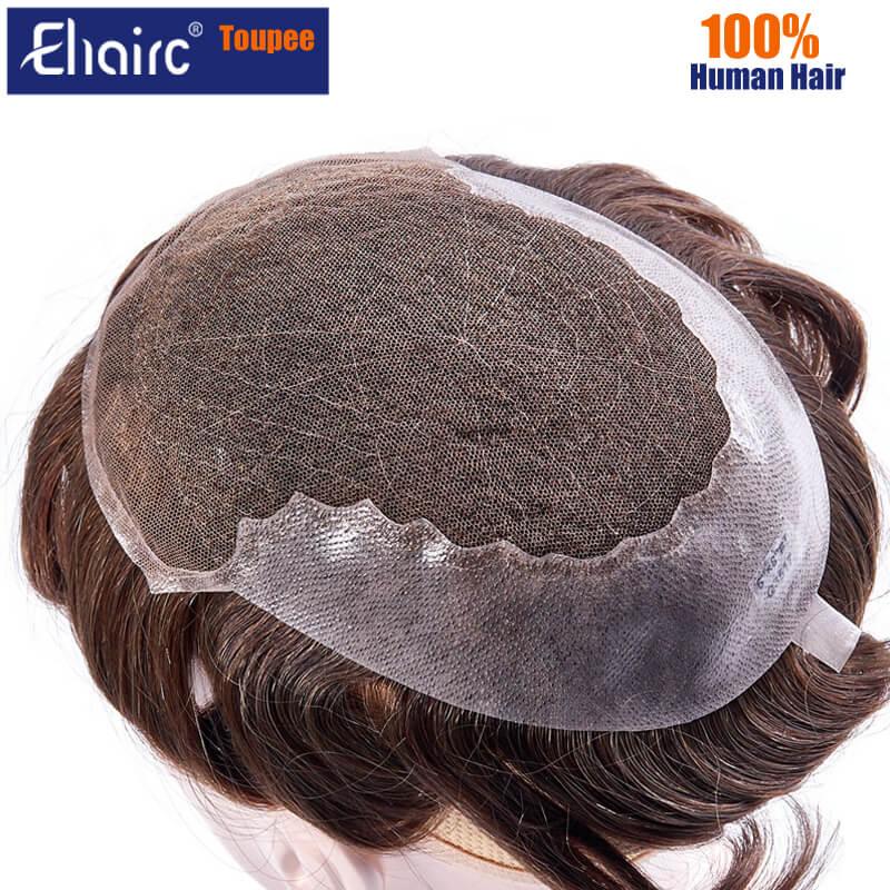 Q6 Toupee For Men Lace & PU Base Human Hair Replacement System Unit Toupee Wig For Men Durable Male Hair Prosthesis Men's Wigs