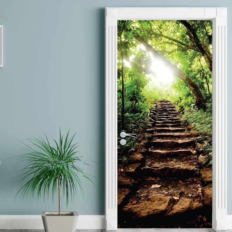 Adhesivo creativo para puerta, escalón de bosque, puerta, Mural, cubierta de puerta, pegatinas de pared, papel pintado de cocina, Mural de renovación, calcomanía para niños, decoración del hogar