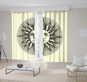 Curtain Sun Face with Ancient Medieval Style Mysterious Theme Artwork Beige Grey