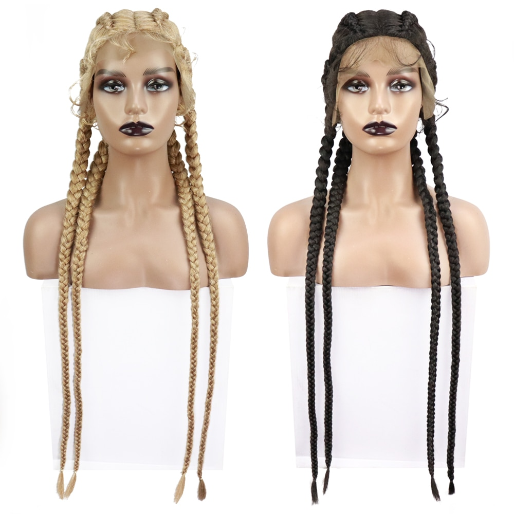 Rebcass 4 Plat Braid Lace Front Synthetic Wig for Black Women Cornrow Braids Lace Wigs with Baby Hair Box Braid Wig #27/ 613