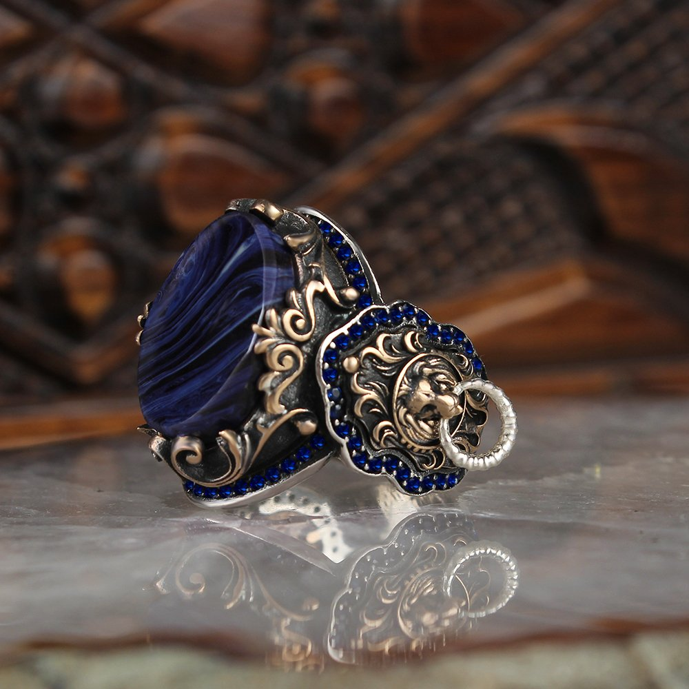 Silver Men Ring with Oval Blue Amber Stone and Lion Motif Made in Turkey Solid 925 Sterling Silver