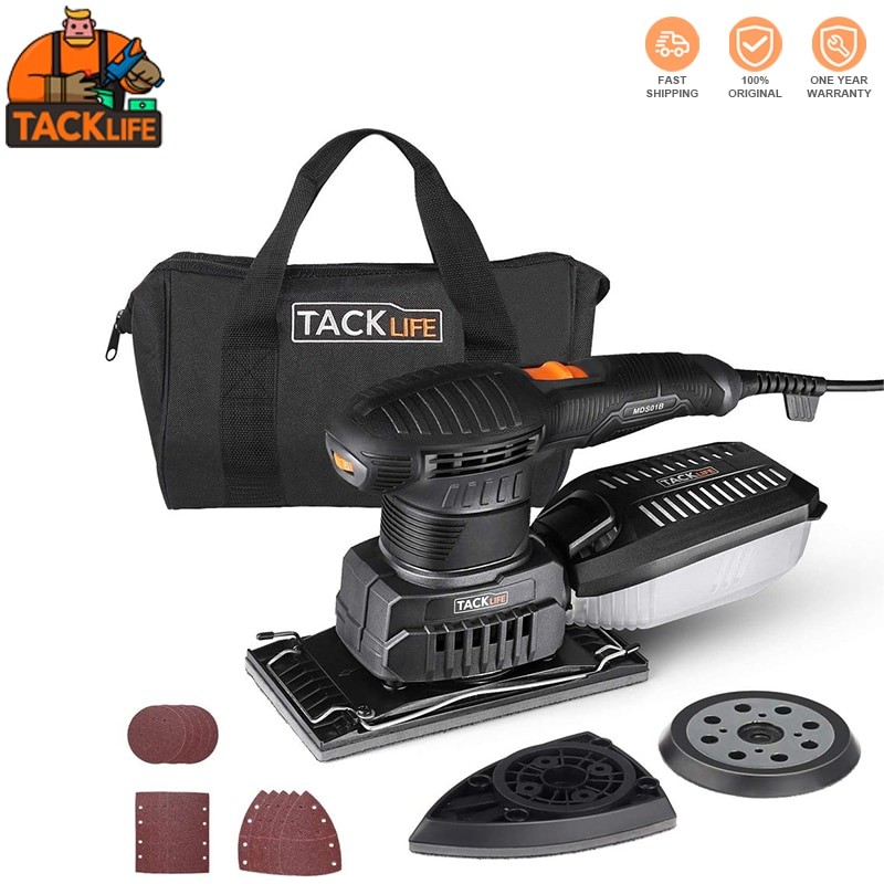 TACKLIFE MDS01B Orbital Sander 3 In 1 Electric Sander With 15 Pcs Sandpapers 6 Variable Speeds Grinding Machine For Woodworking