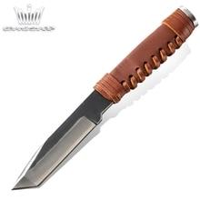 Couteau de chasse fait main survie Camping outils de plein air lame fixe couteau de poche tactique poignée en cuir outil de sauvetage gorgé à la main