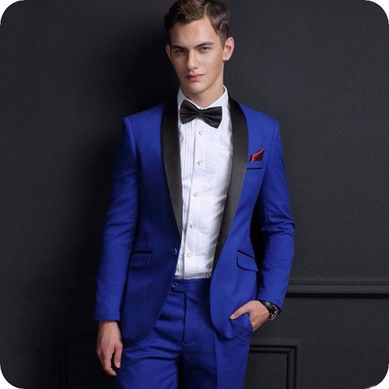 2021 مخصص رجالي الدعاوى شال التلبيب سليم صالح رسمي أفضل رجل سترات سهرة 2 قطعة مجموعات الأزرق الملكي موضة بدل زفاف
