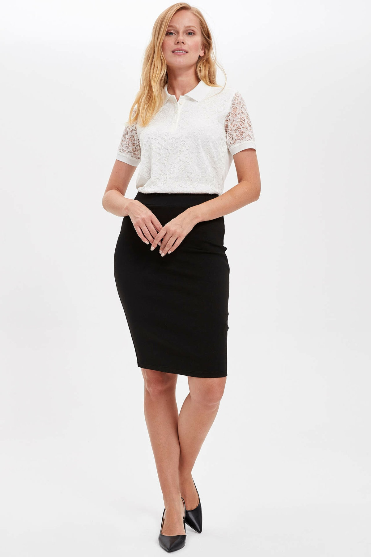 DeFacto Solid Color Skirts Woman Office Plaid Pattern Pencil High Waist Skinny Sexy Midi Skirt Womens Autumn Winter -K6736AZ19AU