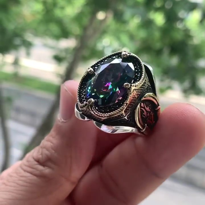 Alexandrite Mistik Topaz Natural Stone 925 Sterling Silver Ring For Men Jewelry Fashion Vintage Gift Turkish Style Rings Onyx
