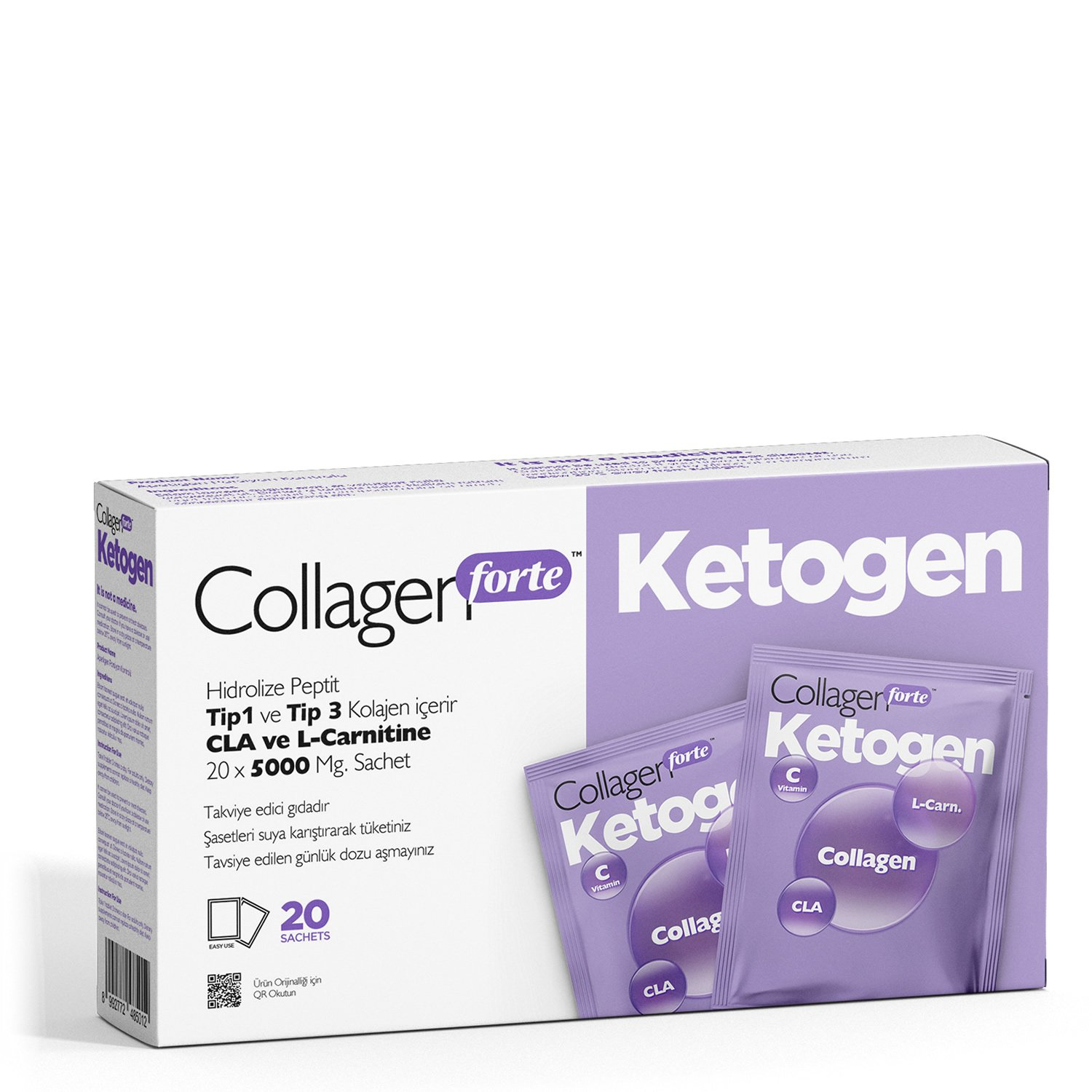 Diet, Helping to Weight Loss, Suppressing Appetite and Accelerating Metabolism Collagen Forte Ketogen, 20 Pieces-5000 Mg