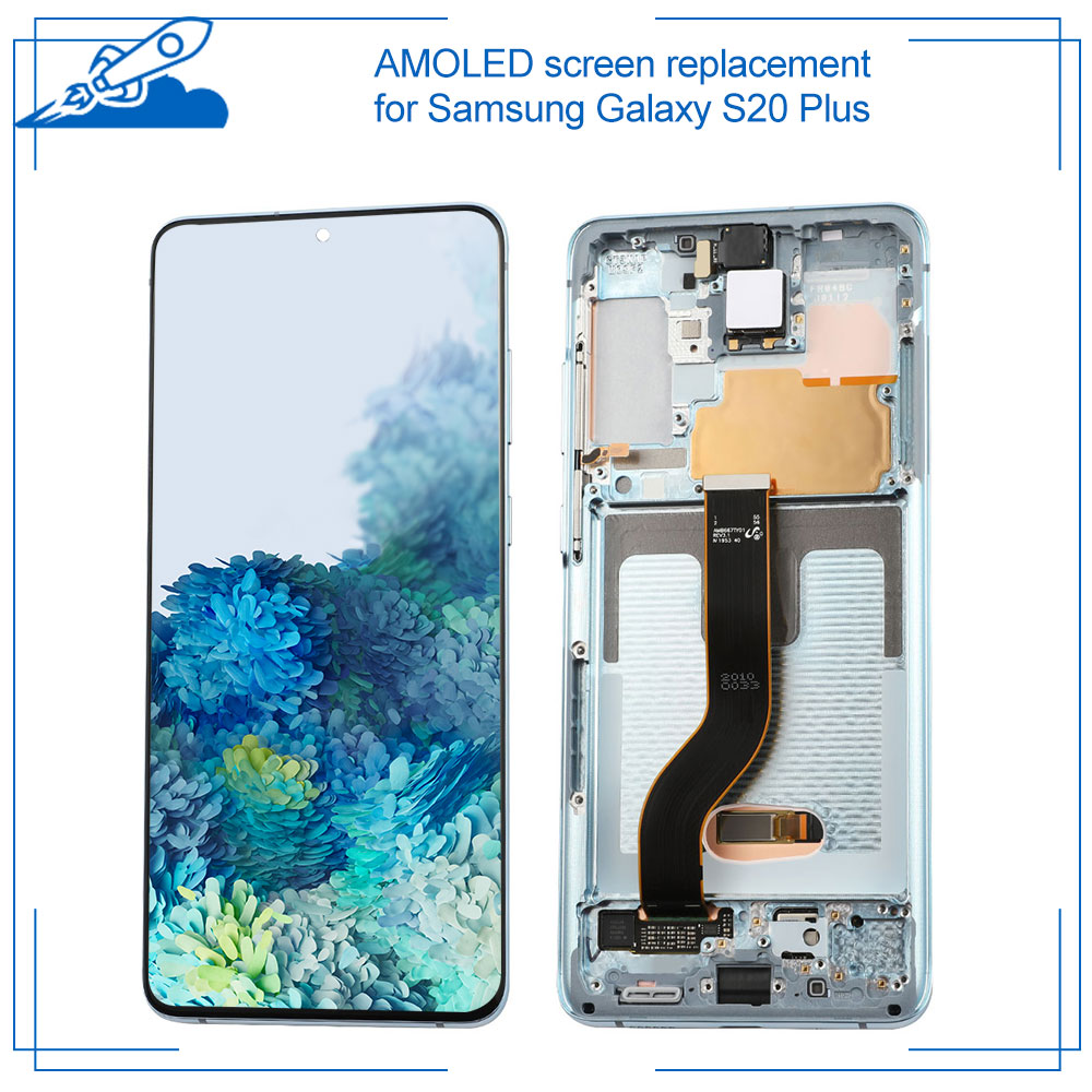 Pantalla AMOLED 100% OEM para SAMSUNG Galaxy S20 Plus, pantalla digitalizadora de pantalla táctil, sin sombras, sin píxeles muertos