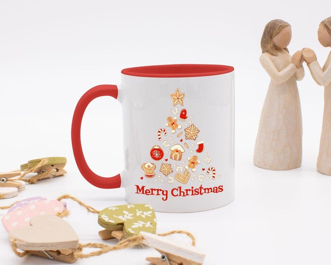 عيد ميلاد سعيد كوب عيد الميلاد ، فنجان القهوة عيد الميلاد ، هدية عيد الميلاد ، اثنين من أكواب منغم ، زينة عيد الميلاد ، هدية الكريسماس ، حشو تخ...