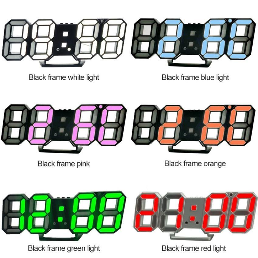 2020 explosión moderna de 3D estéreo LED Digital reloj alarma de pared Ajuste de brillo para la decoración del hogar reloj de escritorio