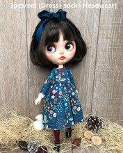3Pcs/set  1/6 Doll  [Dress+headwear+sock]  blyth Dress Blyth sock (Fit blyth,  ICY,1/6 Doll)