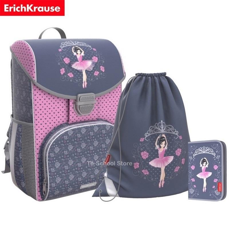 Mochila ortopédico escolar para niña Erich krause-ergoline 15l-ballet + estuche de lápices y bolsa de cambio (46264)