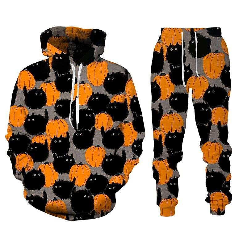 جديد ثلاثية الأبعاد أنماط هالوين طباعة الرجال قمصان سويت شيرت بقلنسوة الخريف والشتاء الرجال هوديس السراويل الرجال رياضية رياضية مجموعات