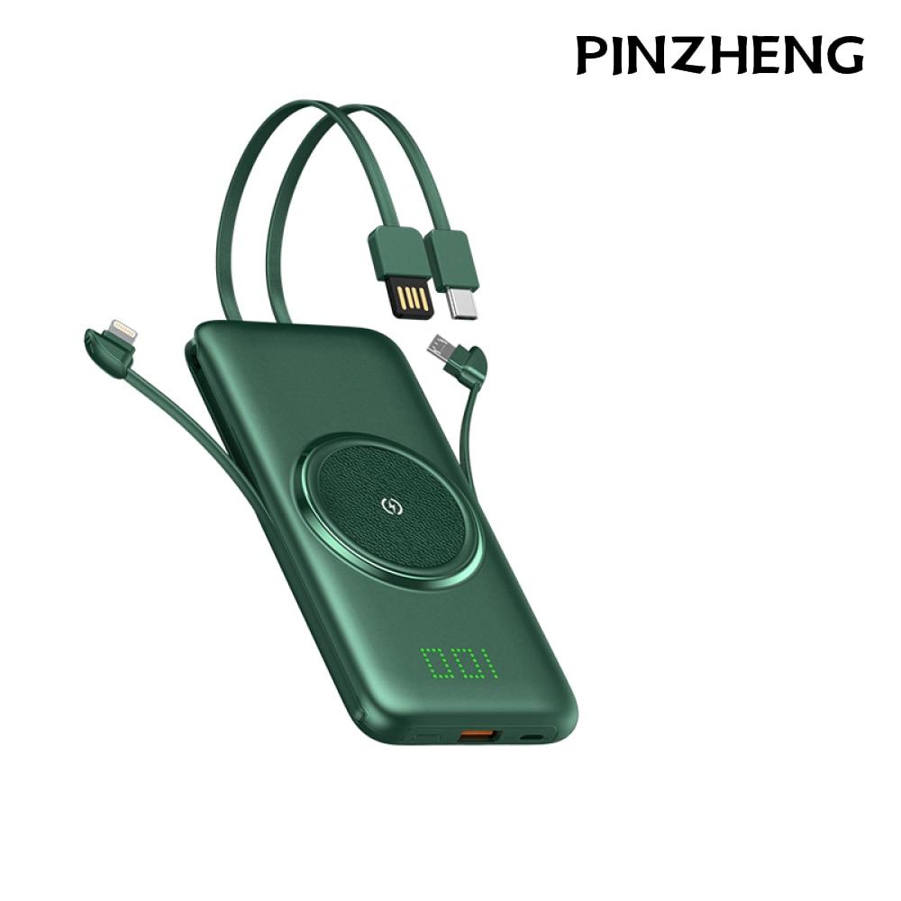 شاحن PINZHENG باور بانك 20000mAh مع كابل بيانات عرض رقمي غير مرئي شاحن محمول سريع الشحن لهاتف iPhone شاومي