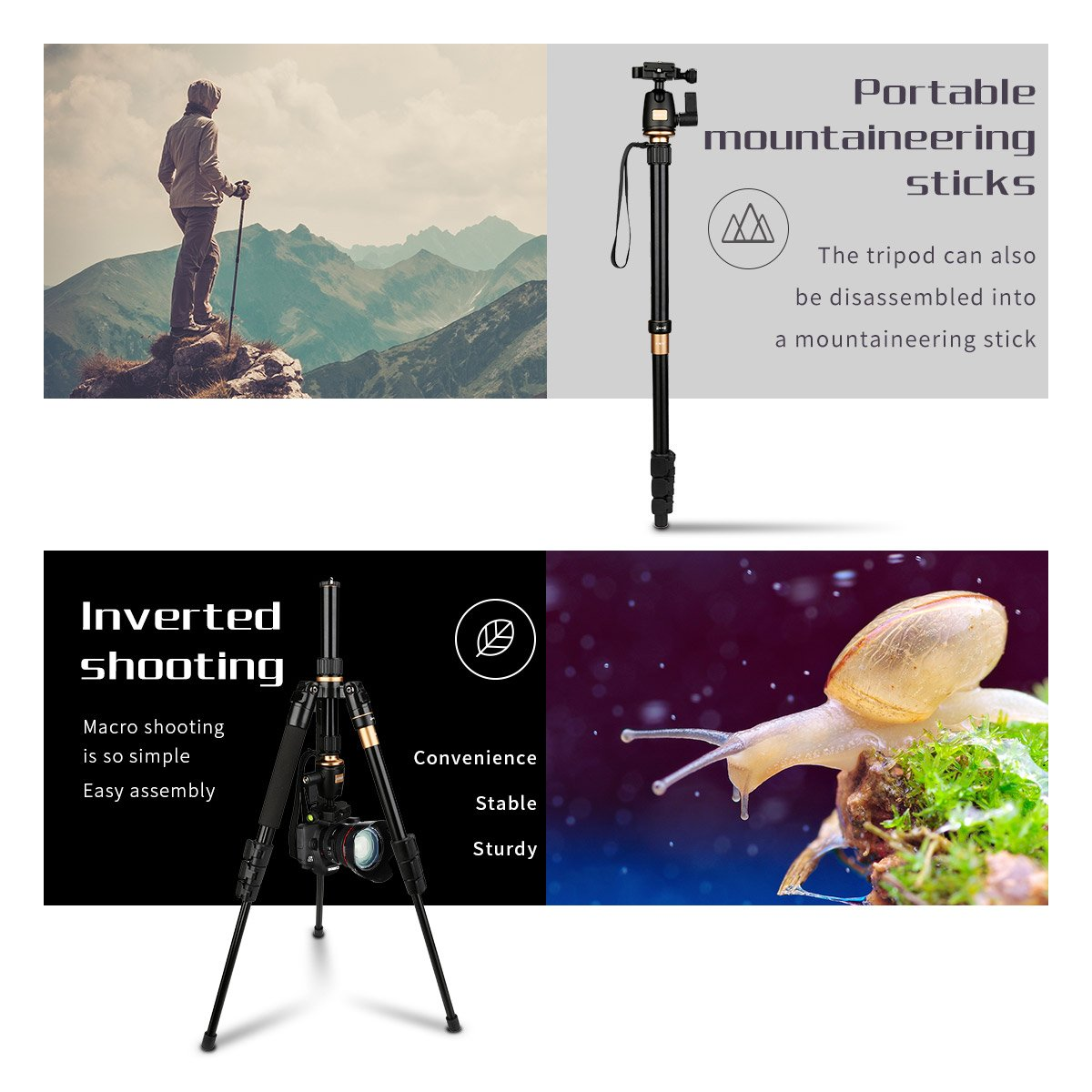 AFAITH DSLR camera tripod, ultra-compact lightweight aluminum travel tripod with 360 panoramic ball head quick release plate enlarge