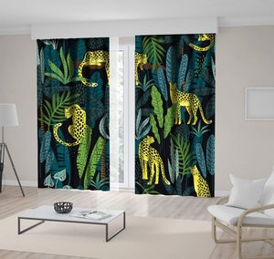 Curtain Leopards in Tropical Forest Trees Leaves Wild Nature Exotic Jungle Night View Printed Yellow Green Black