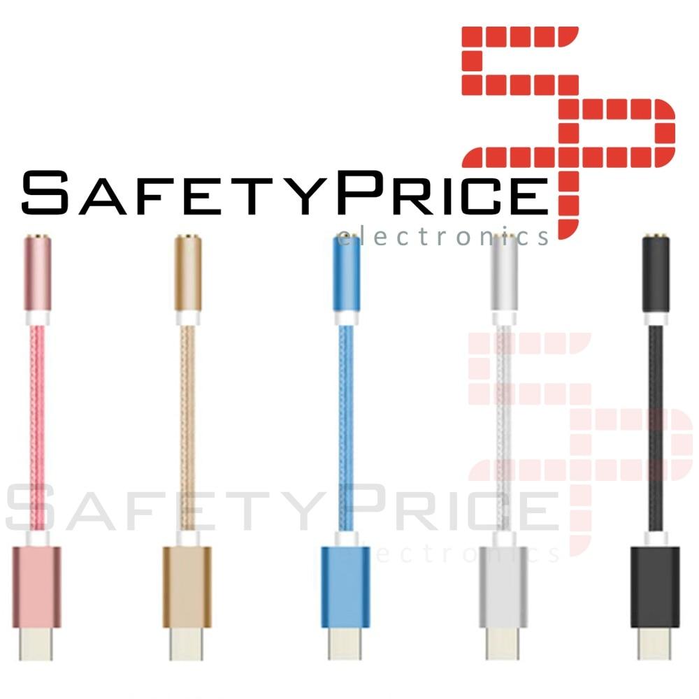 ADAPTADOR NYLON TRENZADO USB-C TIPO C 3.1 A JACK HEMBRA 3.5MM COLOR ORO