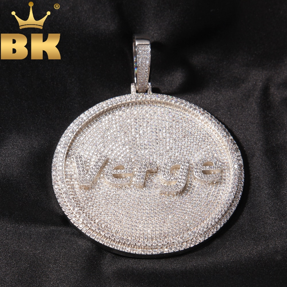 THE BLING KING Iced Out Round Custom Any Font Letter/Logo/Symbol Pendant Necklace Paved Cubic Zircon Men Women Hiphop Jewelry