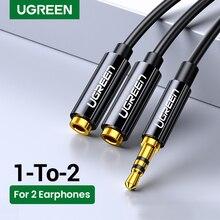 Ugreen-Cable divisor de Audio para auriculares, conector macho a 2 hembra de 3,5mm, adaptador auxiliar para iPhone, Samsung y reproductor MP3
