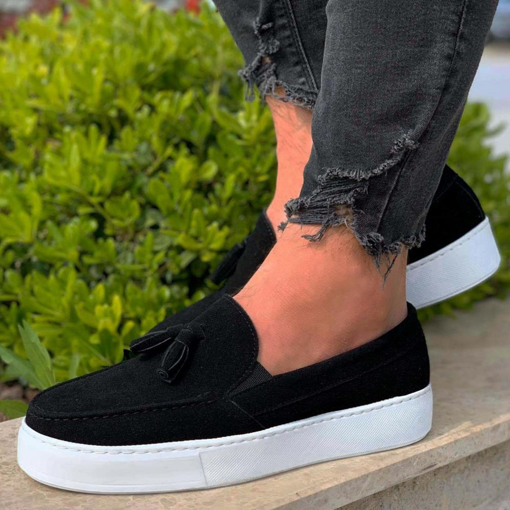 Knack Casual Sport Classic Shoes Black Suede (White Sole) Comfortable Flexible Quality Sturdy Stitched Adult Young Men's Shoes Designer Shoes Non-Leather Casual Shoes Shoes Men Original Shoes For Men Sneaker 717