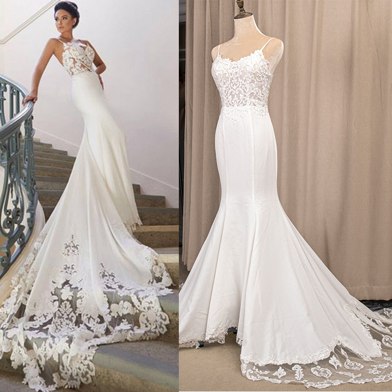 Fit and Flare Applique Wedding Dress Spaghetti Straps Backless Beach Boho Sheer Lace Train Custom Made Bridal Gowns 6264#