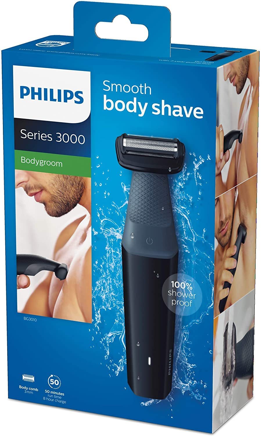 Philips Bodygroom Series 3000 Showerproof Body Groomer/Trimmer & Skin Friendly Electric Shaver with 50 mins Cordless Use, Black enlarge