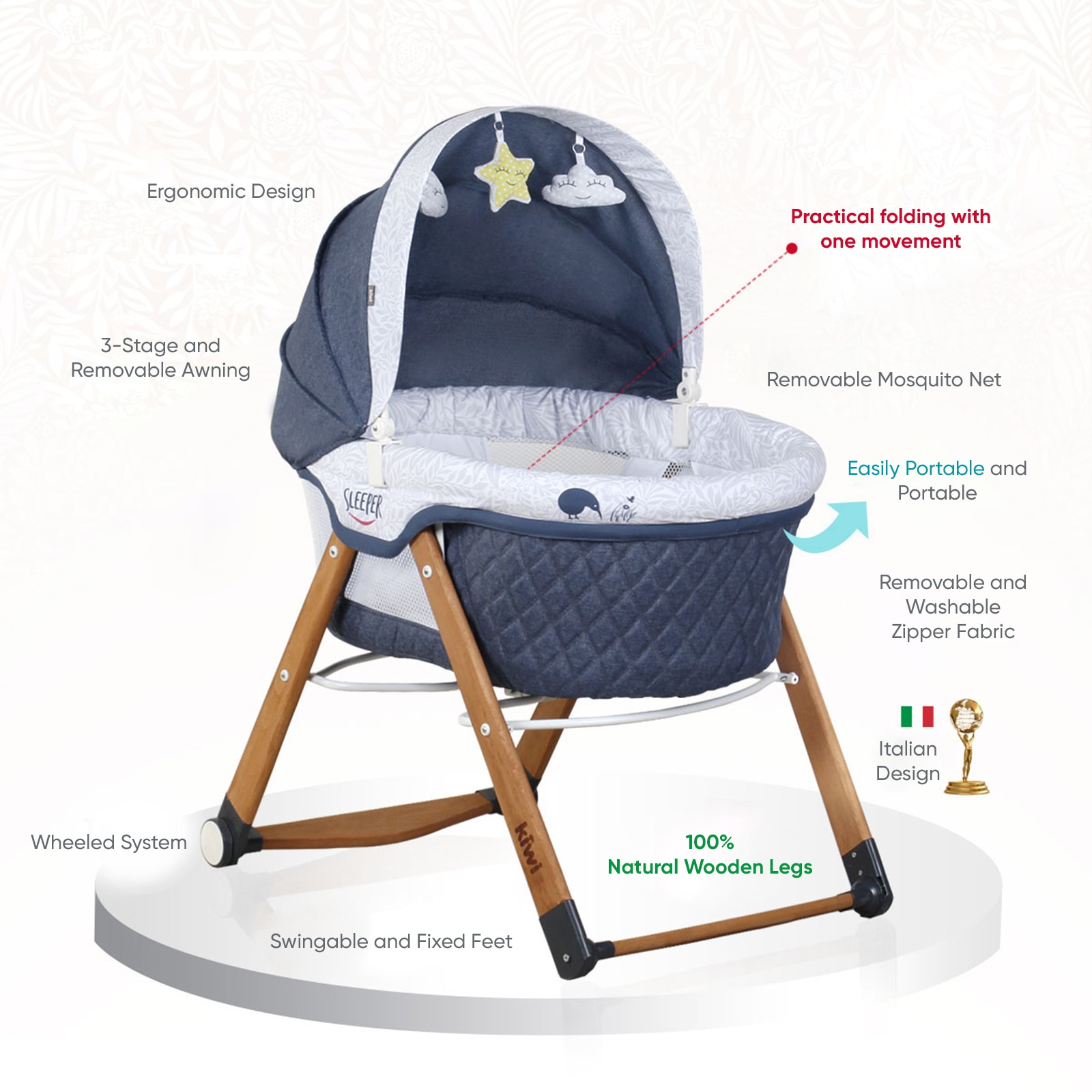 Natural Wooden Rocking Folding Crib Wooden Baby Crib Child Bed Quilt Pillow Mosquito Net Cradle Rocking Chair Swing enlarge
