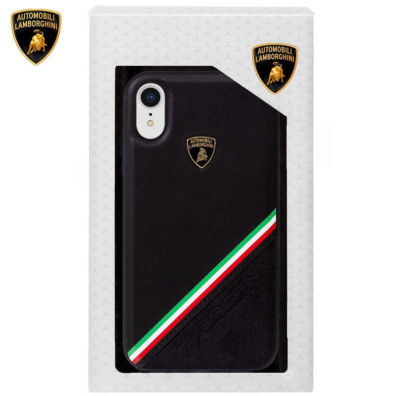 Черный кожаный чехол для IPhone XR license Lamborghini