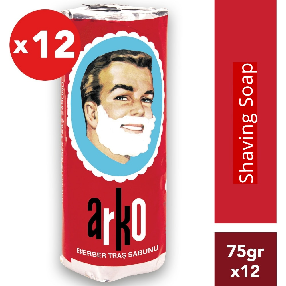 ARKO Shaving Soap 12 X 75 Gr Soap Stick Traditional Shaving Choice of All Barbers Best