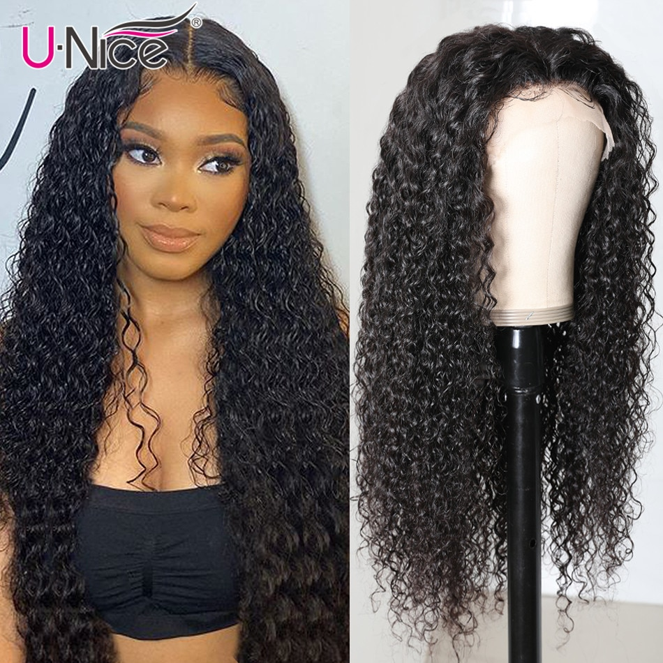 Unice Hair Curly Human Hair Wig 13x1 Lace Part Wig Affordable Brazilian Human Hair Lace Wig Pre plucked 150% Density 14-24inch
