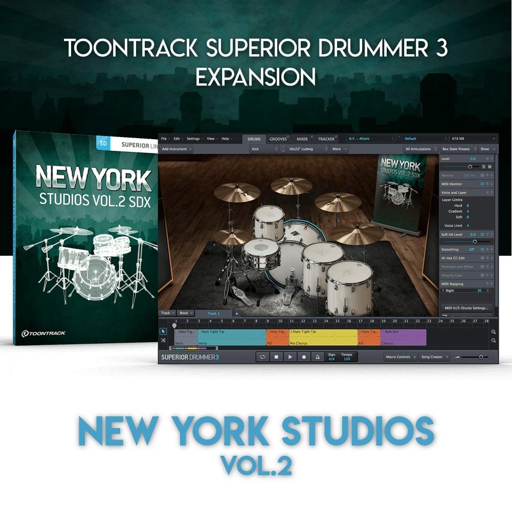 NEW YORK STUDIOS VOL.2 - TOONTRACK SUPERIOR DRUMMER 3 EXPANSION (WINDOWS 64BIT VSTi)