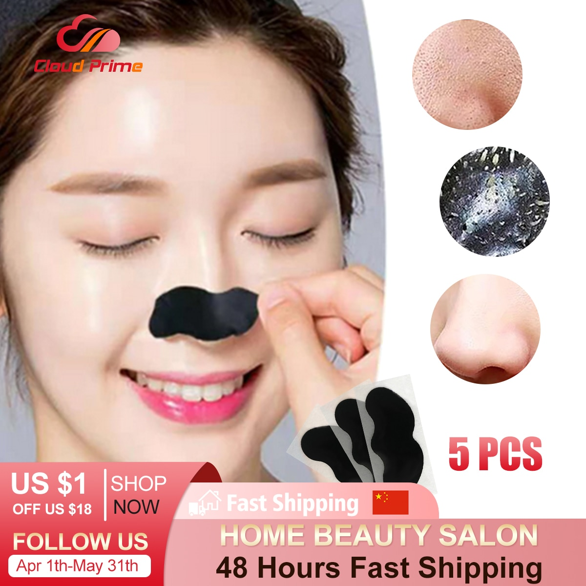 dead sea mud mask deep cleaning black mask hydrating acne blemish clearing lightening moisturizer nourishing pore face cleaner 5Pcs Nose Blackhead Remover Strip Acne Treatment Mask Nose Sticker From Black Dots Cleaner Nose Pore Deep Cleaning Skin Care Set