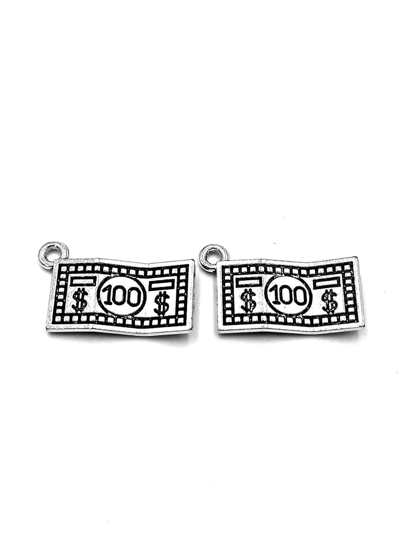 30 Uds 100 dólares colgantes 10x19mm adornos de plata antigua accesorios para hacer joyas material base artesanal