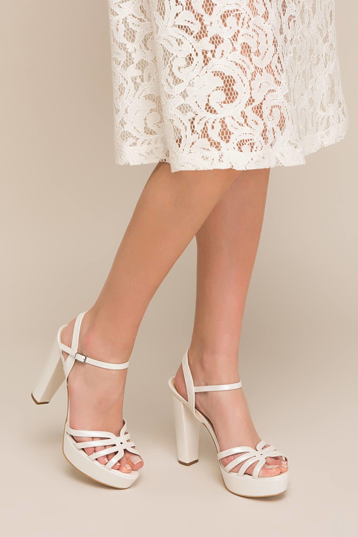 Бежевые женские туфли на высоком каблуке с жемчугом 120130002329|Женские туфли| |