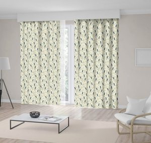 Curtain Flowers Lavender Field Summertime Countryside Classic Pattern Blue and Beige Floral Print